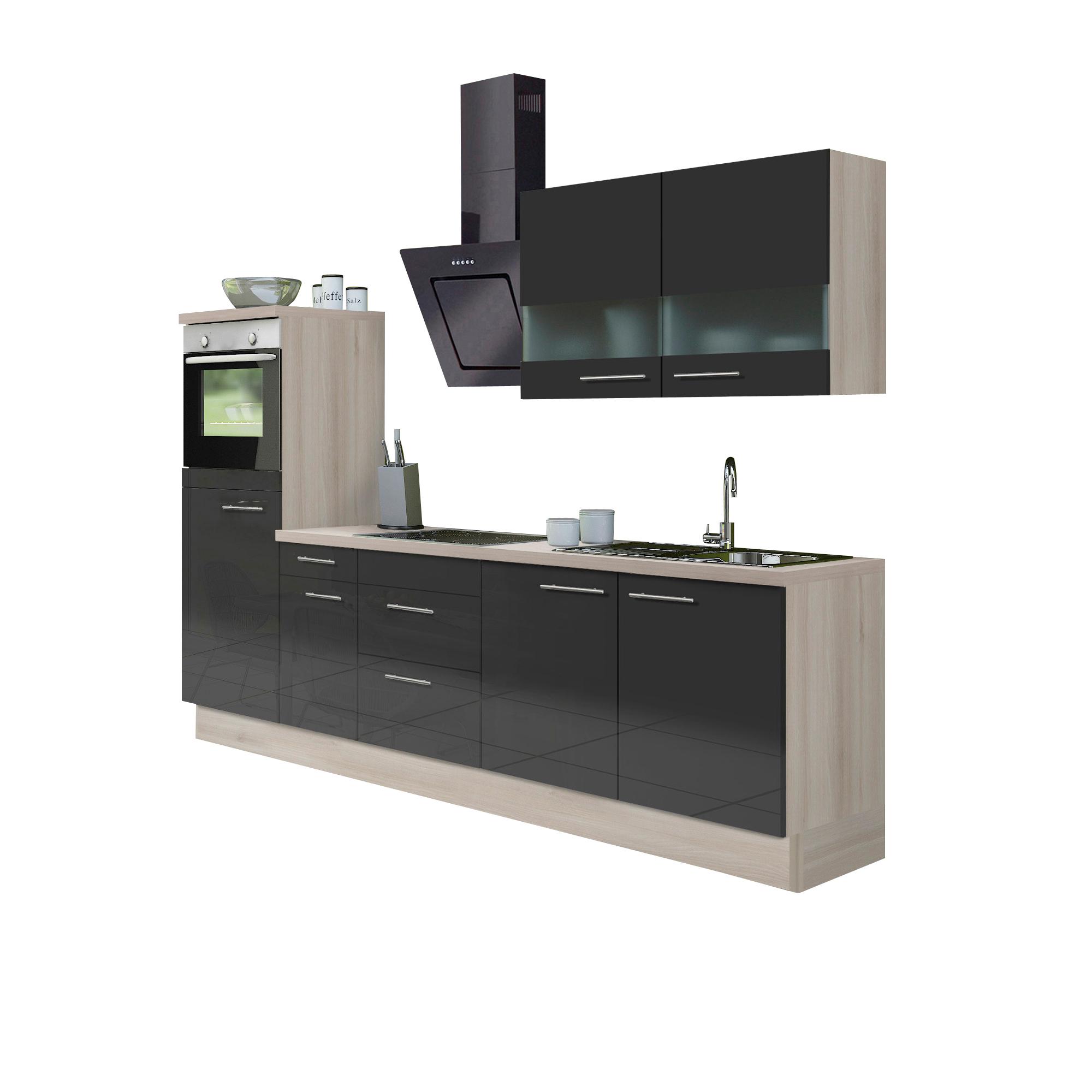 k chenzeile leon vario 8 2 k che mit e ger ten breite 270 cm braun k che k chenzeilen. Black Bedroom Furniture Sets. Home Design Ideas