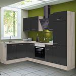 Eckküche LEON - Vario 2.2 - Küche mit E-Geräten - Breite 270 x 175 cm - Braun