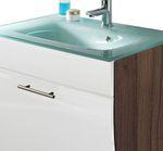 Bad-Waschtisch SALONA - mit Glasbecken - 1 Klappe - 70 cm breit - Weiß / Walnuss