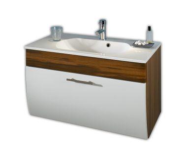 Bad-Waschtisch SALONA - 1 Klappe - 90 cm breit - Weiß / Walnuss