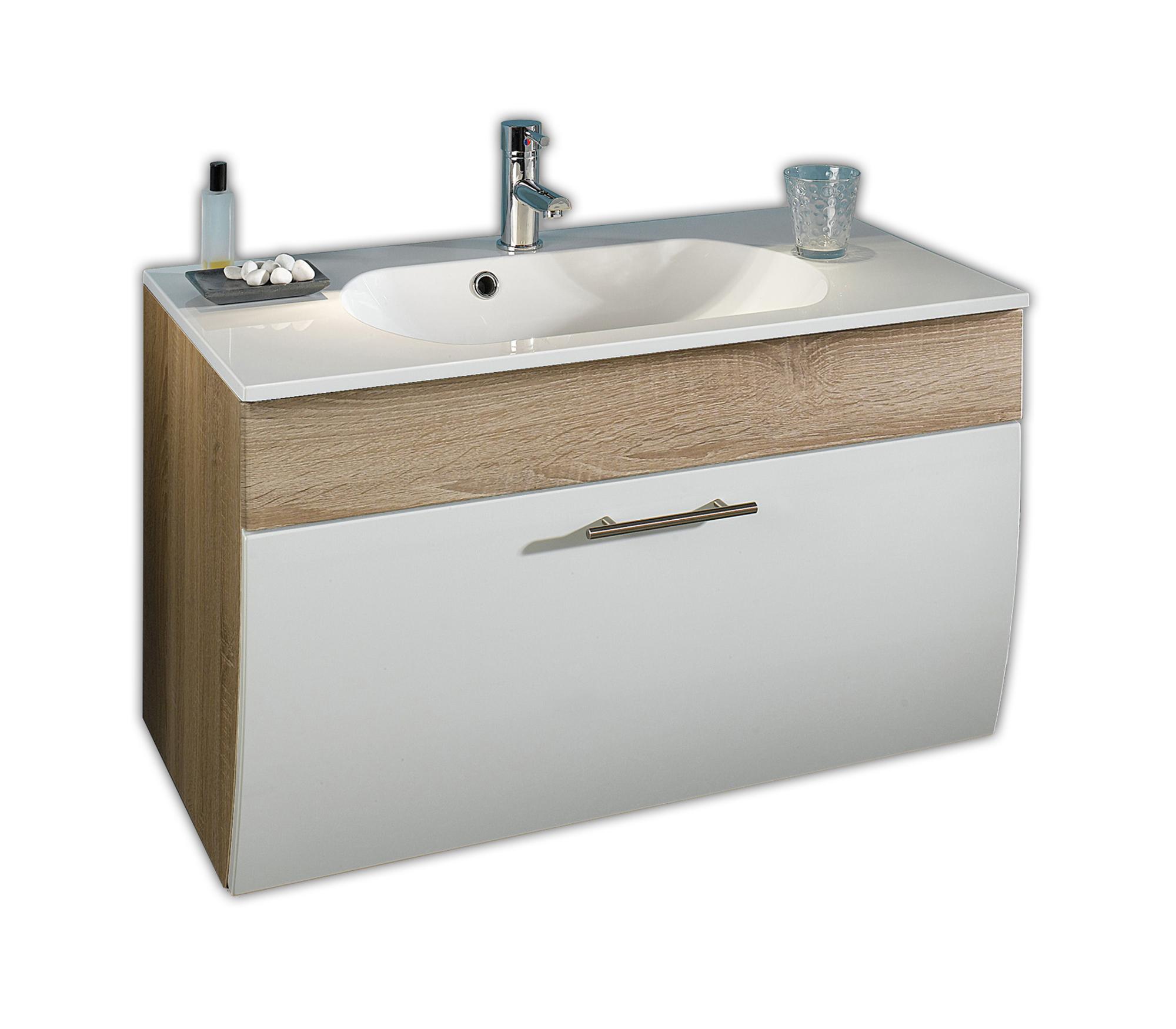 bad waschtisch salona 1 klappe 90 cm breit wei eiche bad waschtische. Black Bedroom Furniture Sets. Home Design Ideas
