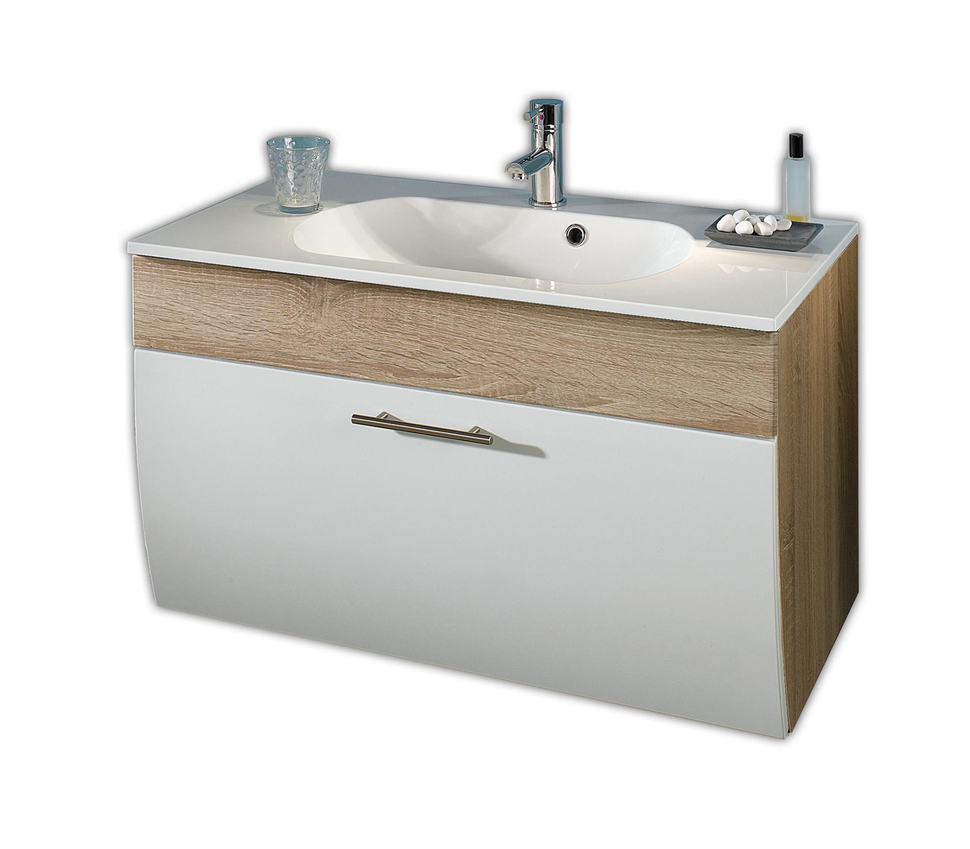 Details Zu Waschtischunterschrank 90 Cm Waschbecken Mit Unterschrank Hochglanz Weiß Eiche