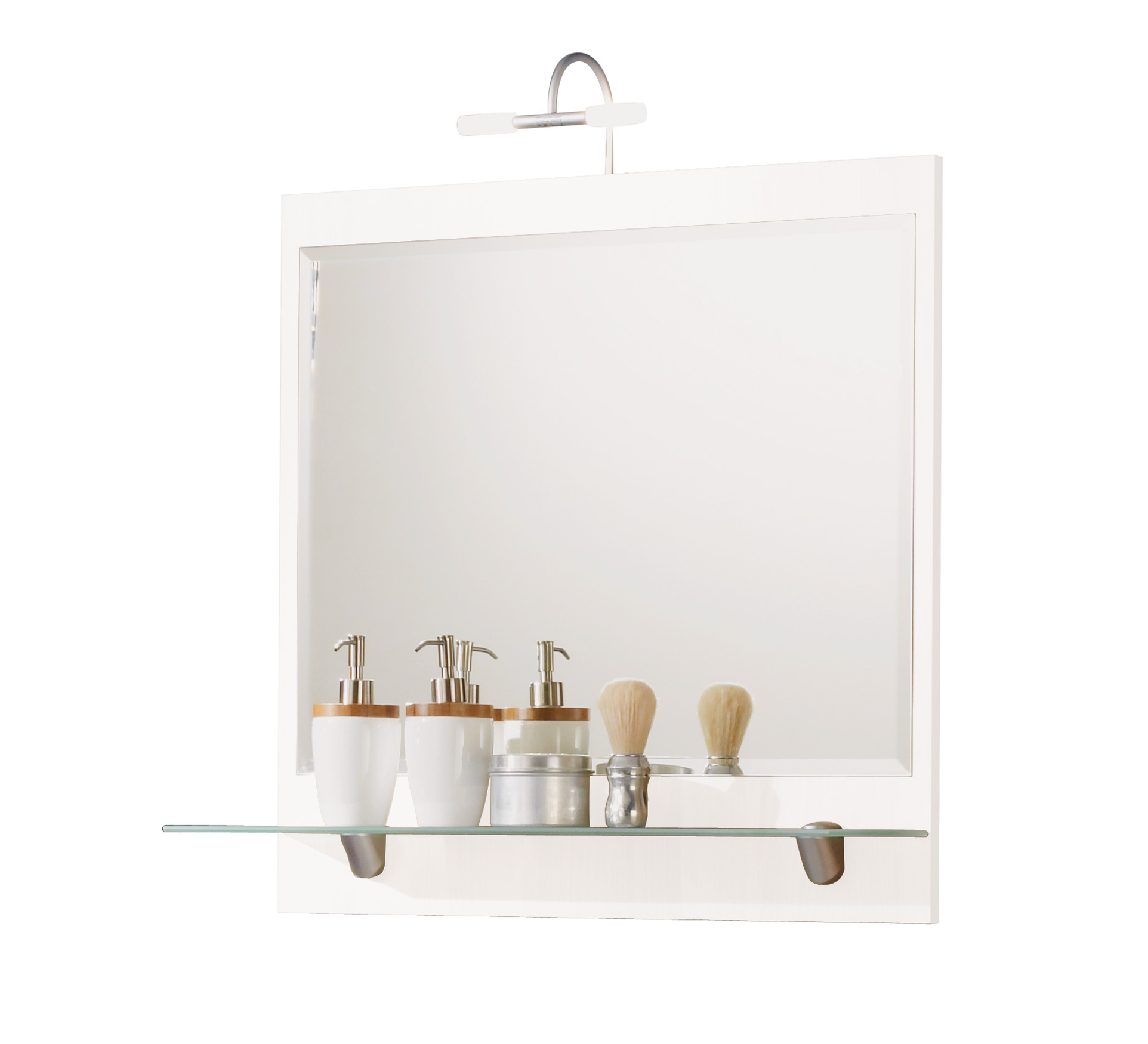 Bad spiegel salona mit ablage und halogenleuchte 70 cm breit wei bad spiegelschr nke - Spiegel ablage bad ...