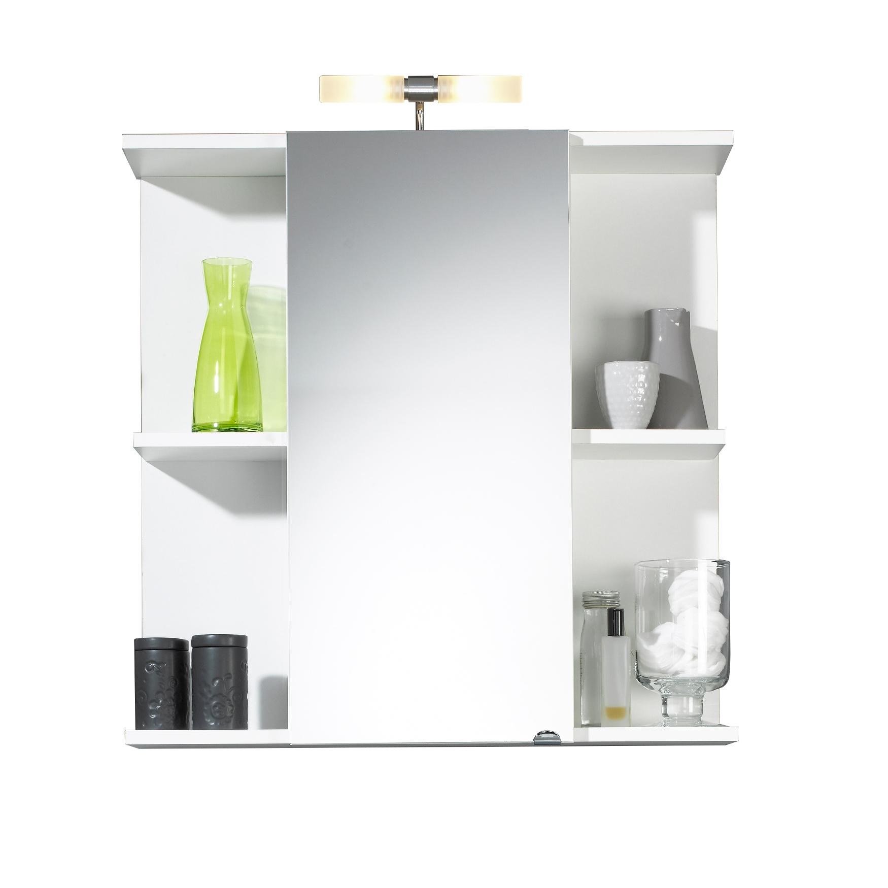 bad spiegelschrank mit lampe 1 t rig 4 offene f cher 68 cm breit wei bad spiegelschr nke. Black Bedroom Furniture Sets. Home Design Ideas