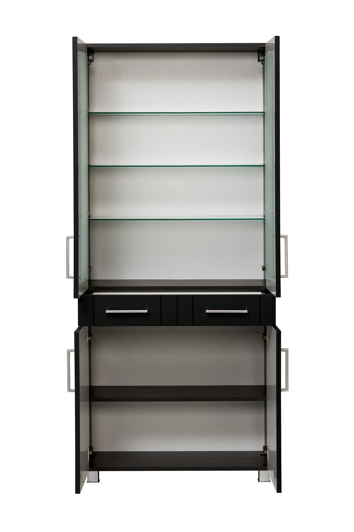bad hochschrank barolo 4 t rig 80 cm breit grau matt mit glaseinsatz bad bad hochschr nke. Black Bedroom Furniture Sets. Home Design Ideas