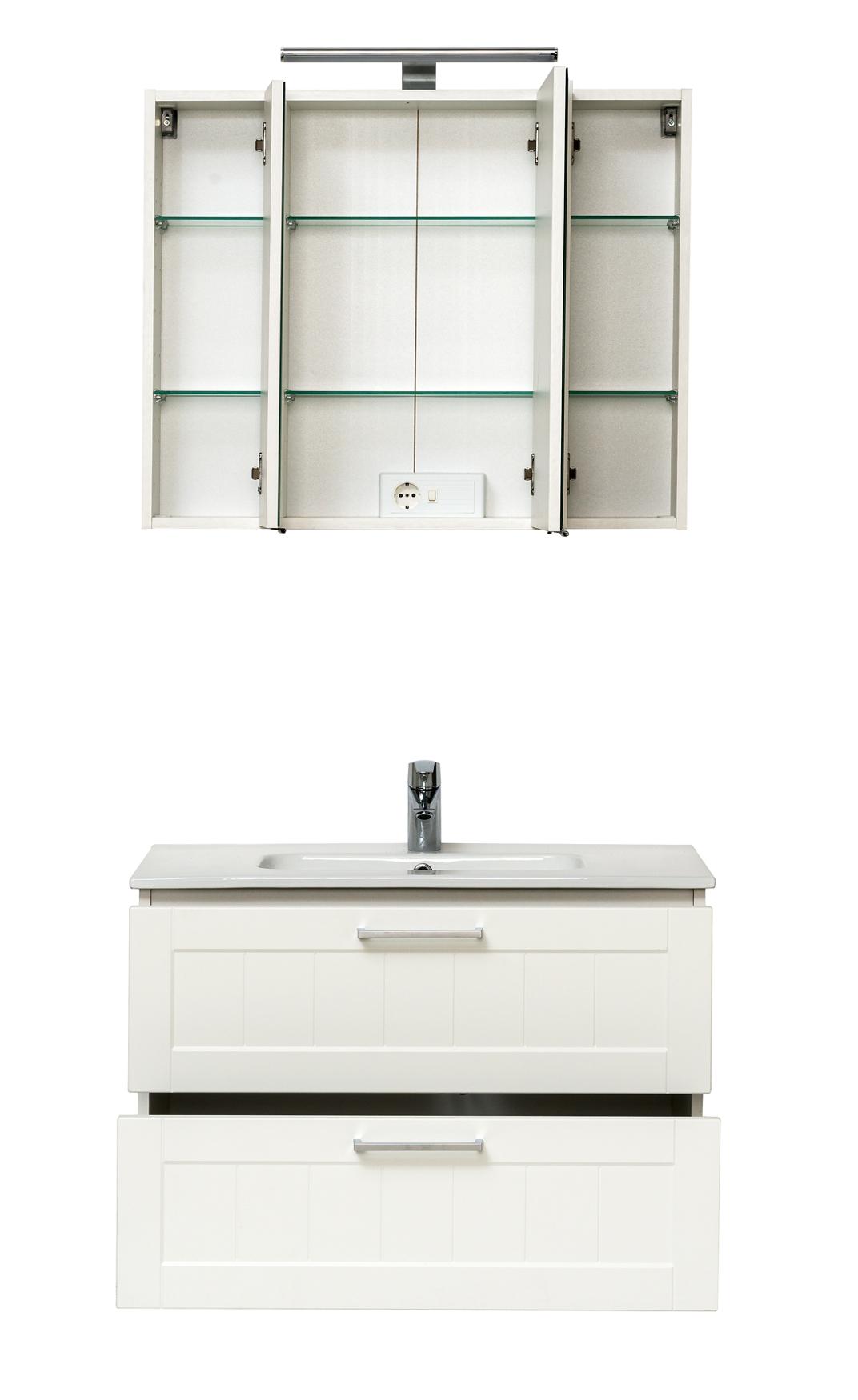 badm bel set barolo mit waschtisch 4 teilig 80 cm breit wei matt bad badm belsets. Black Bedroom Furniture Sets. Home Design Ideas