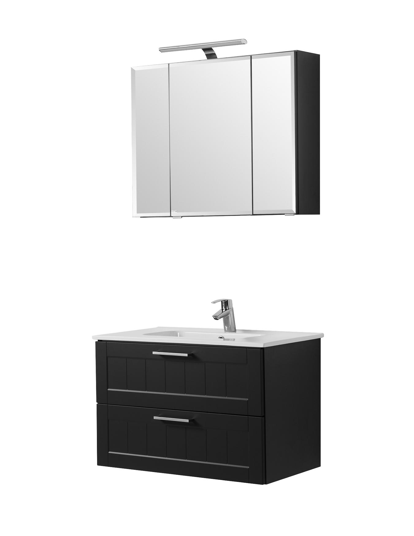 badm bel set barolo mit waschtisch 4 teilig 80 cm breit grau matt bad badm belsets. Black Bedroom Furniture Sets. Home Design Ideas