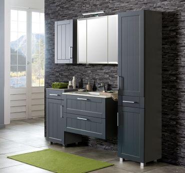 Badmöbel-Set BAROLO - mit Waschtisch - 7-teilig - 160 cm breit - Grau Matt