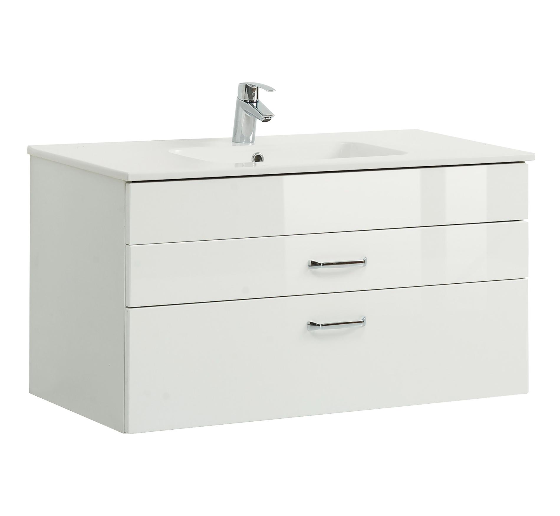 bad waschtisch fontana mit keramikbecken 100 cm breit wei bad waschtische. Black Bedroom Furniture Sets. Home Design Ideas