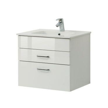 Bad-Waschtisch FONTANA mit Keramikbecken - 60 cm breit - Weiß