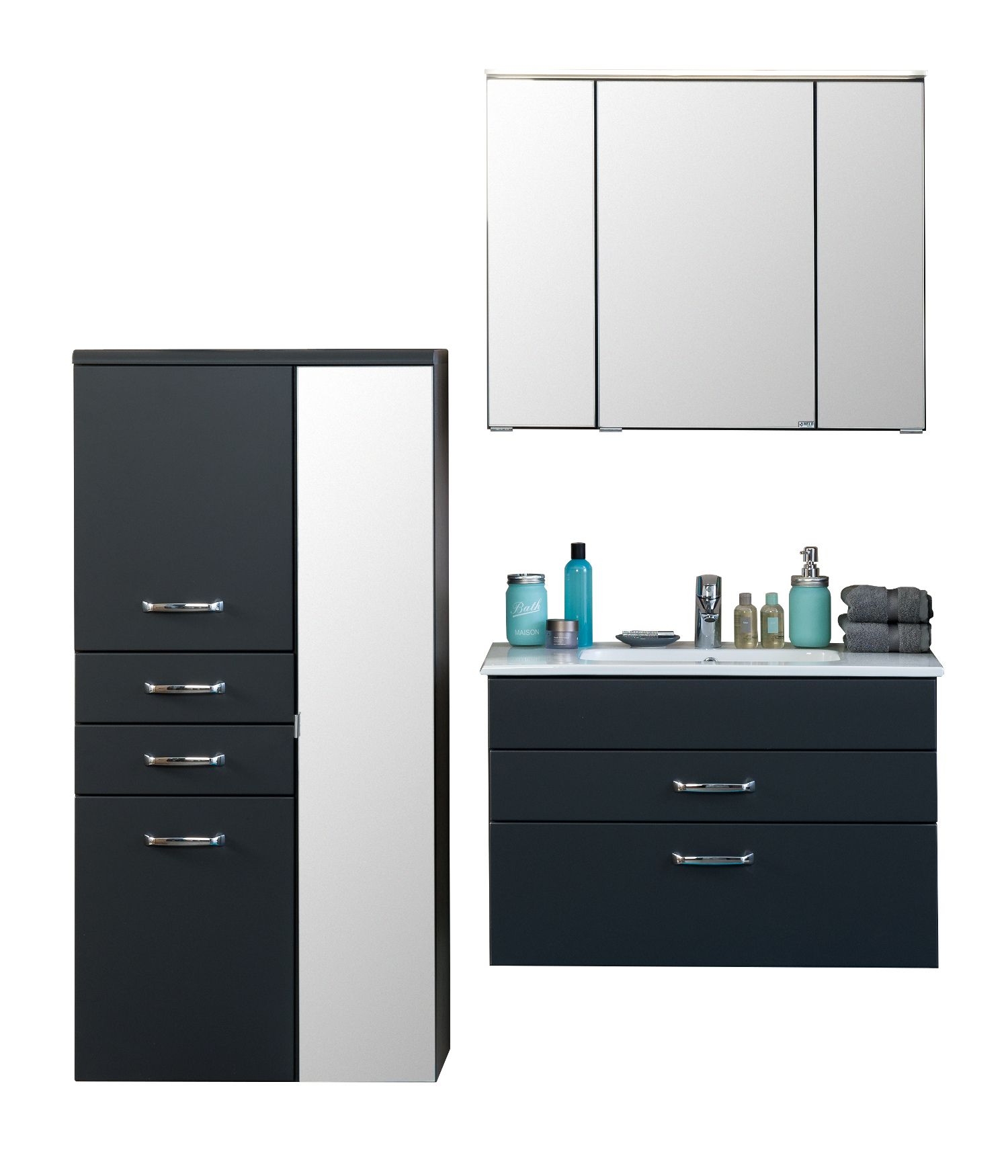 badm bel set fontana mit waschtisch 5 teilig 145 cm breit anthrazit bad badm belsets. Black Bedroom Furniture Sets. Home Design Ideas