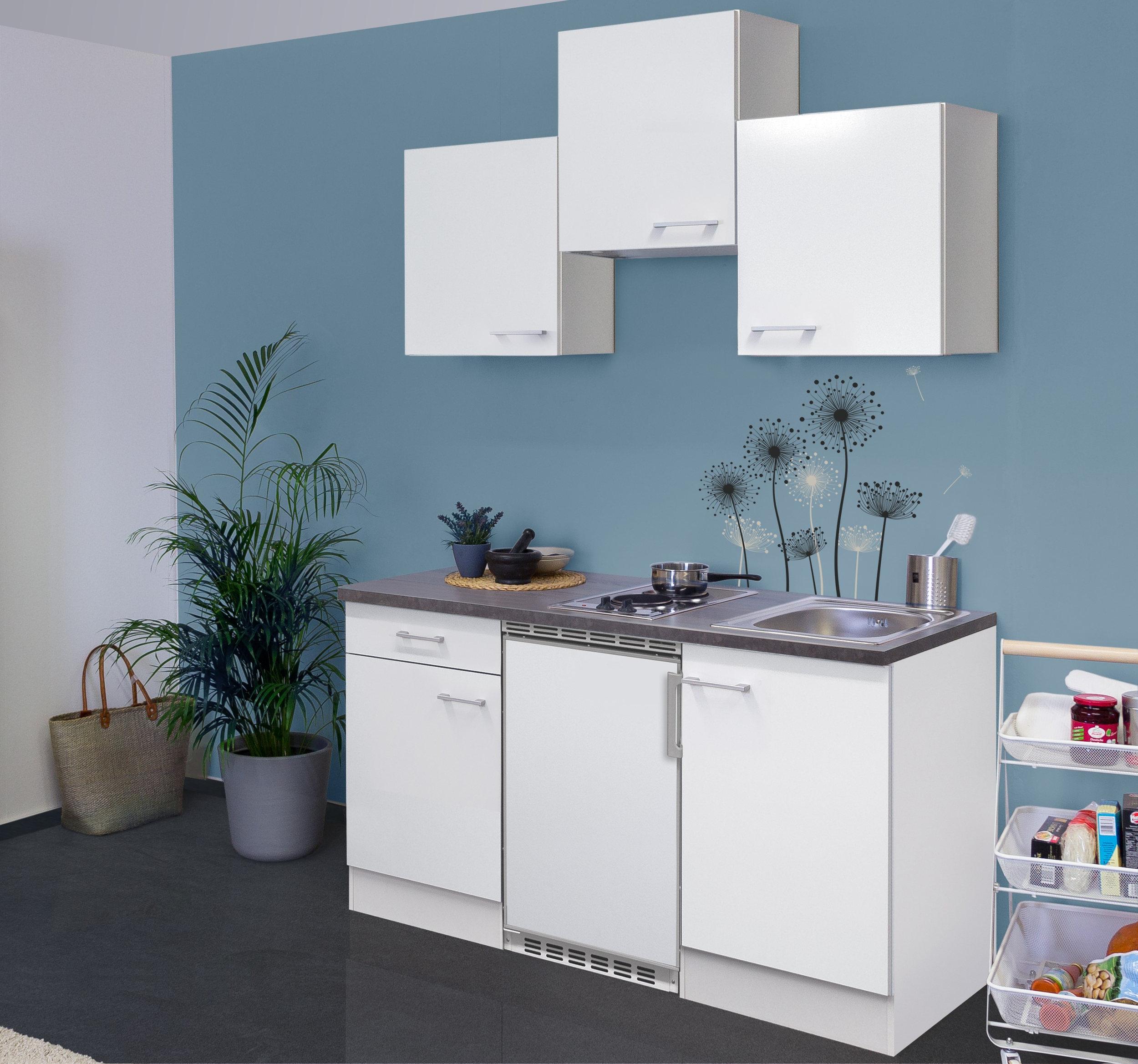 singlek che lucca mit elektro kochfeld und k hlschrank breite 150 cm wei k che singlek chen. Black Bedroom Furniture Sets. Home Design Ideas