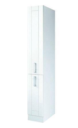 Küchen-Apothekerschrank VAREL - 2 Front-Auszüge - Hochglanz Weiß