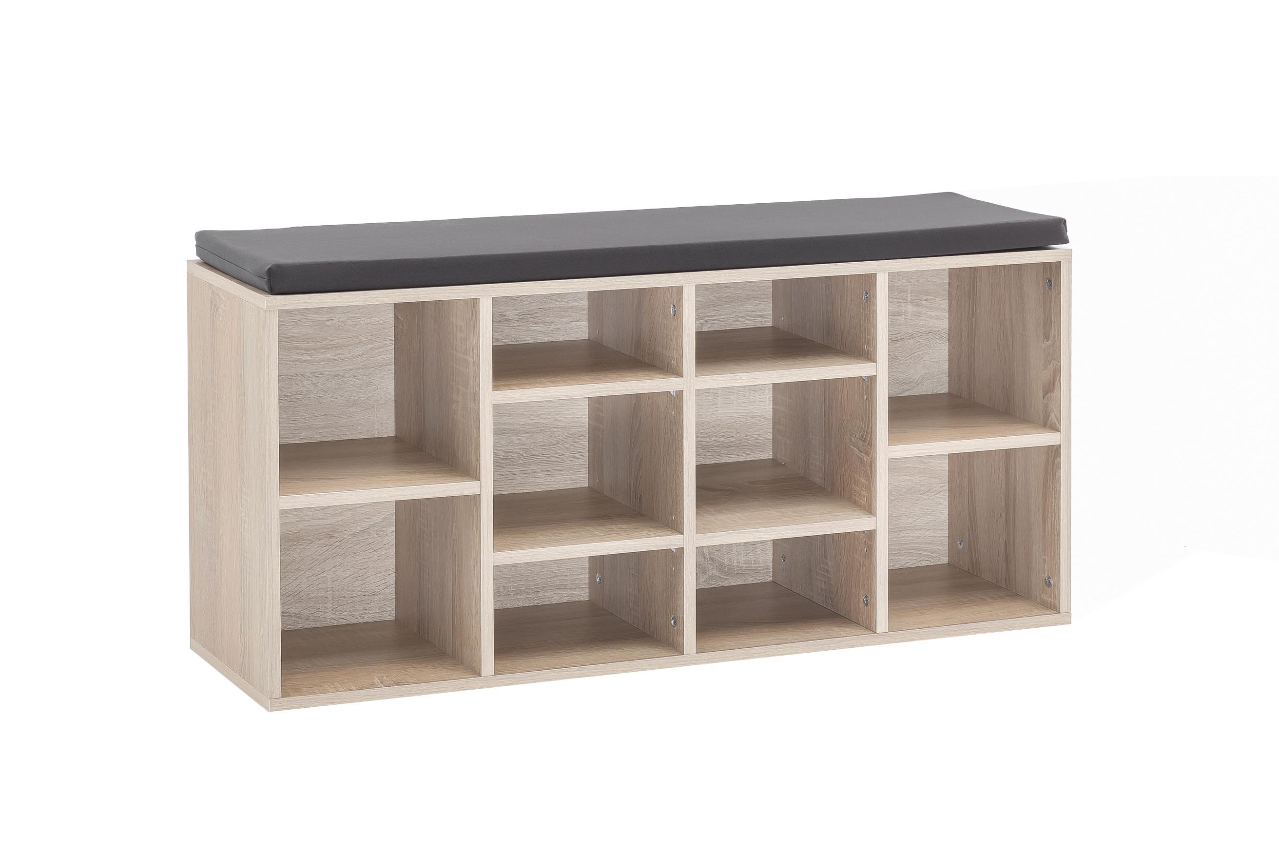 schuhregal emmy mit sitzkissen eiche sonoma wohnen schuhschrank. Black Bedroom Furniture Sets. Home Design Ideas