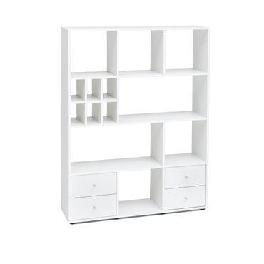 Regal MAIK - 13 Fächer, 4 Schubladen - Weiß