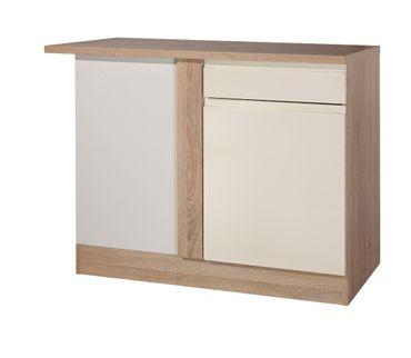 Küchen-Eckunterschrank CARDIFF - 1-türig - 110 cm breit - Hochglanz Creme