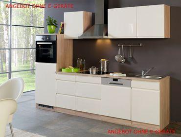 Küchenzeile CARDIFF - Küchen-Leerblock - Breite 280 cm - Hochglanz Creme
