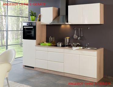 Küchenzeile CARDIFF - Küchen-Leerblock - Breite 270 cm - Hochglanz Creme