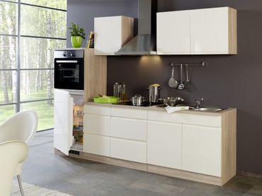 Küchenzeile CARDIFF - Küche mit E-Geräten - Breite 270 cm - Hochglanz Creme