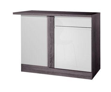 Küchen-Eckunterschrank CARDIFF - 1-türig - 110 cm breit - Hochglanz Weiß