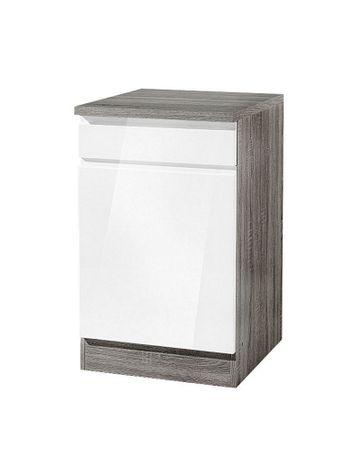Küchen-Unterschrank CARDIFF - 1-türig - 50 cm breit - Hochglanz Weiß