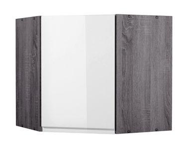 Küchen-Eckhängeschrank CARDIFF - 1-türig - 60 cm breit - Hochglanz Weiß