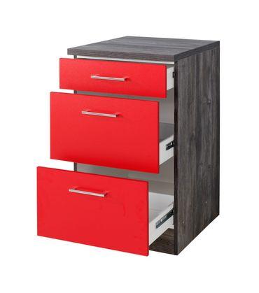 Küchen-Unterschrank SEVILLA - 3 Schubladen - 50 cm breit - Rot Samtmatt / Eiche Vintage