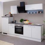 Küchen-Klapphängeschrank und Regal LUCCA - 2-teilig - Weiß / Platinblau-Metallic
