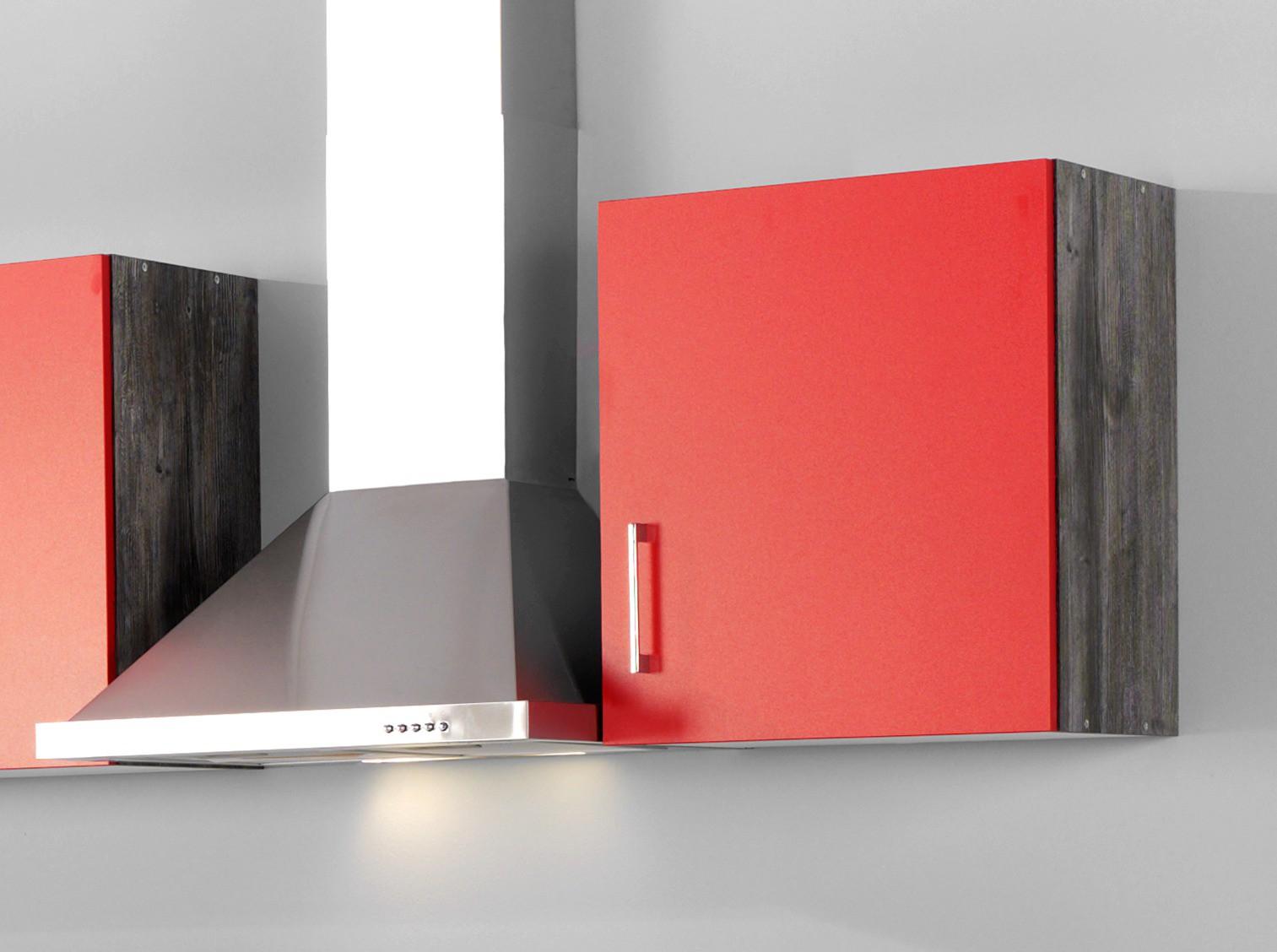 k chenzeile sevilla k che mit e ger ten breite 280 cm 14 teilig rot samtmatt eiche. Black Bedroom Furniture Sets. Home Design Ideas