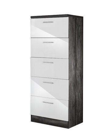 Küchen-Midischrank LISSABON - 5 Auszüge - 60 cm breit - Weiß / Eiche Vintage