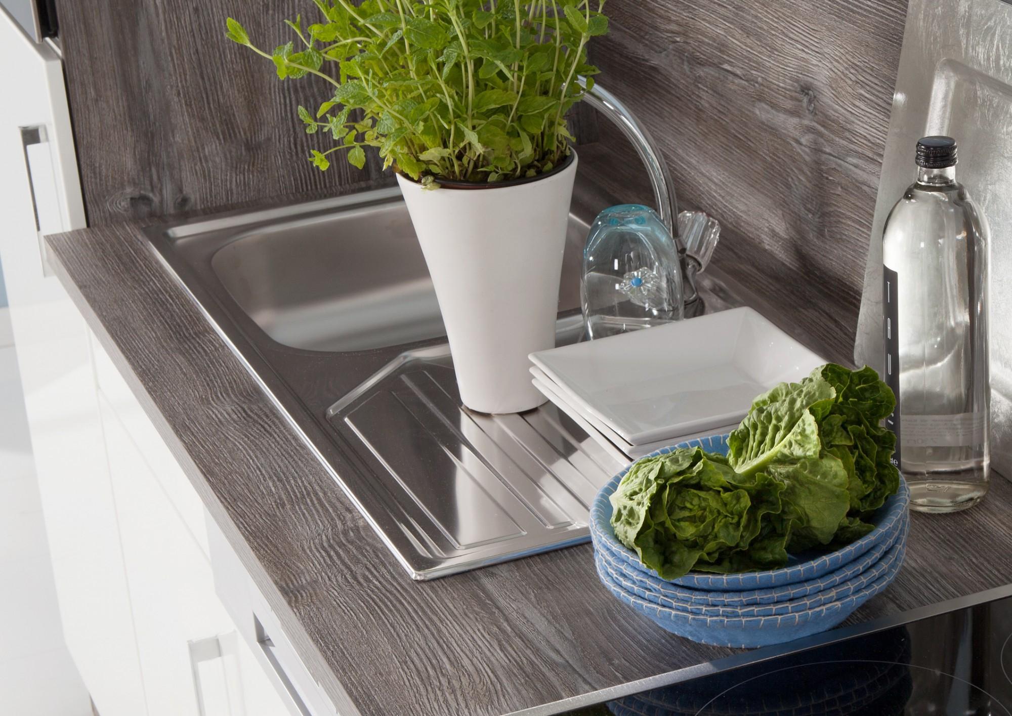 Küchenzeile LISSABON - Küchen-Leerblock - Breite 220 cm - Hochglanz ...