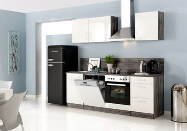 Küchenzeile LISSABON - Küche mit E-Geräten - Breite 280 cm, 14-teilig - Hochglanz Weiß / Eiche Vintage