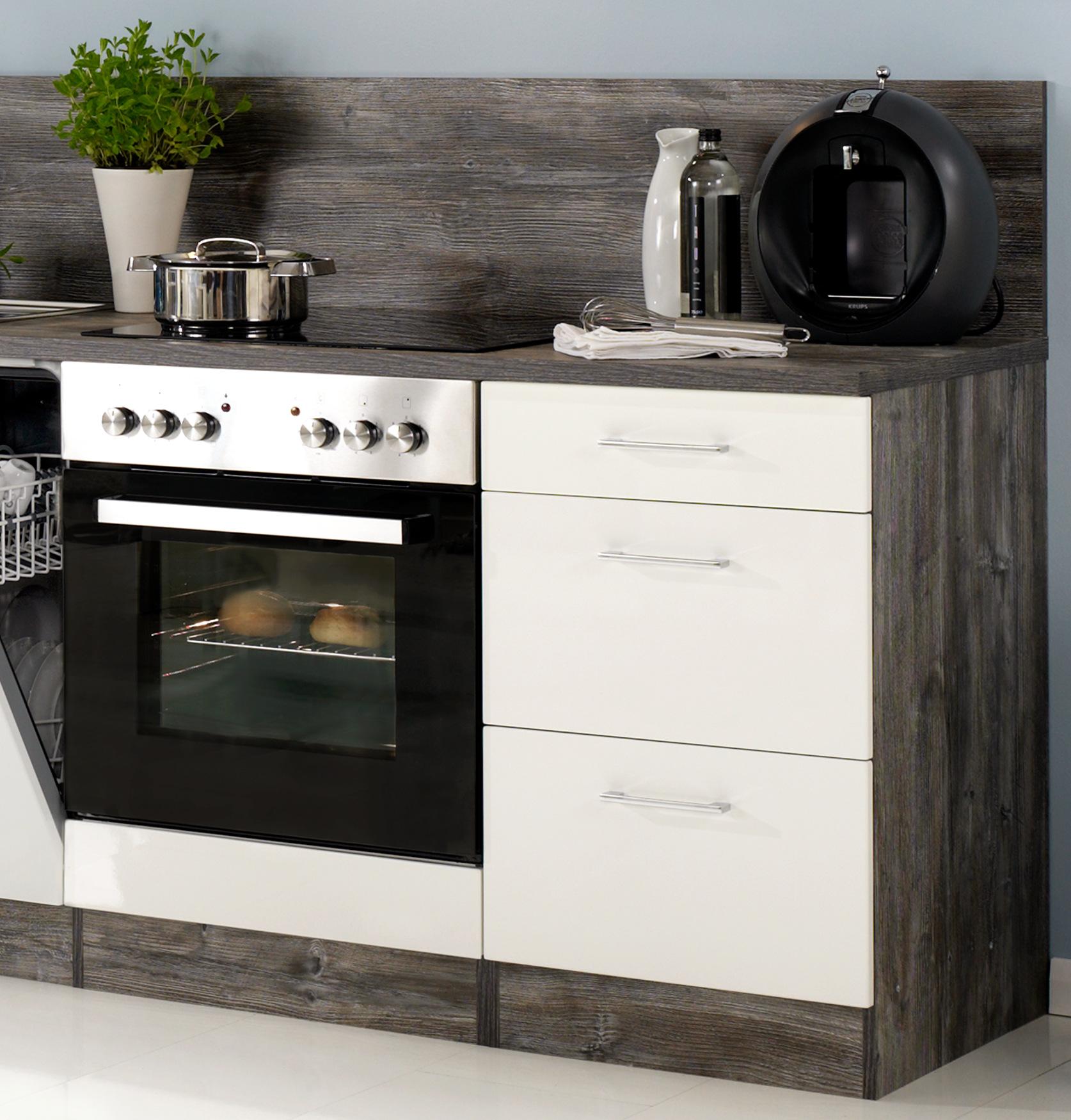 Küchenzeile LISSABON - Küche mit E-Geräten - Breite 220 cm ...