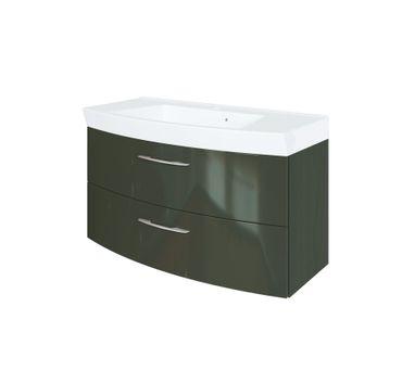 Bad-Waschtisch FLORIDA - 2 Auszüge - 100 cm breit - Hochglanz Grau / Graphitgrau