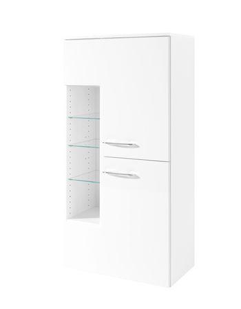 Bad-Midischrank FLORIDA - 2-türig - 65 cm breit - Hochganz Weiß / Weiß