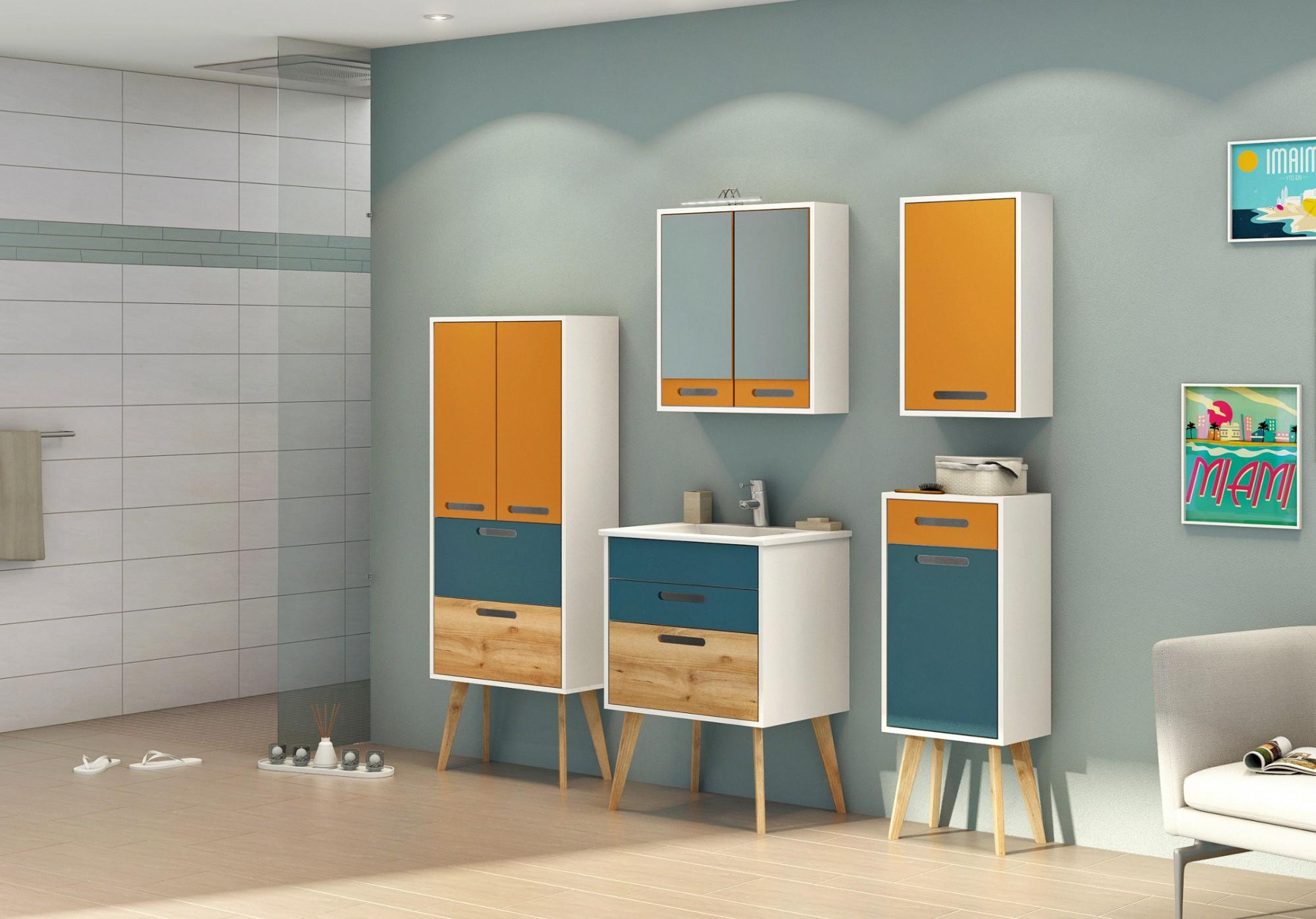 badezimmerspiegel malm spiegelschrank retro badspiegel 60 cm gelb weiss ebay. Black Bedroom Furniture Sets. Home Design Ideas