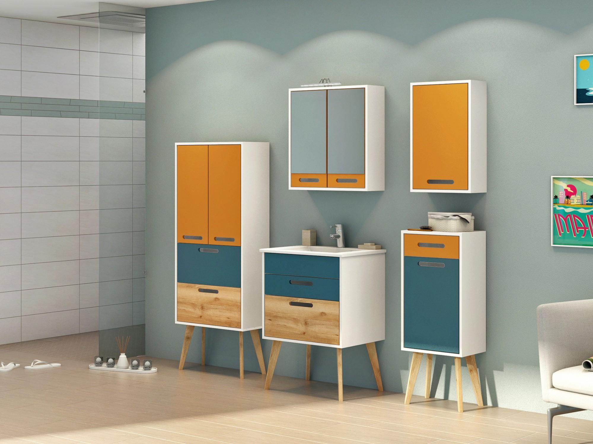 badmöbel-set malmÖ - mit waschtisch und spiegel - 7-teilig - 160, Wohnzimmer dekoo