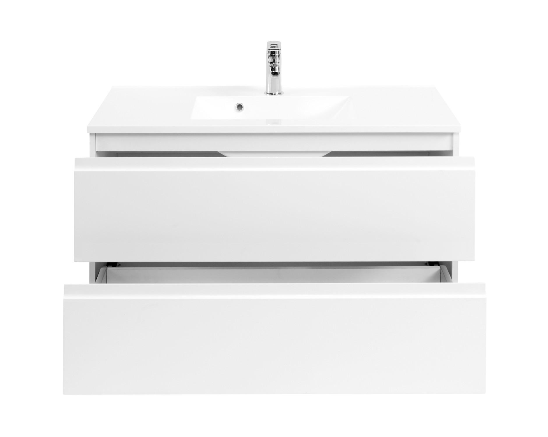 bad waschtisch cardiff 2 ausz ge 100 cm breit hochglanz wei bad waschtische. Black Bedroom Furniture Sets. Home Design Ideas