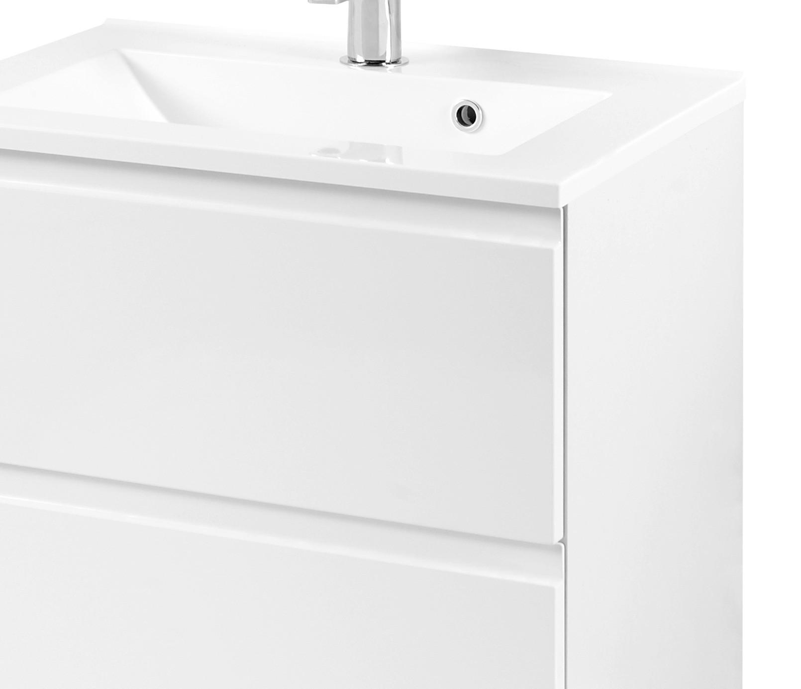 waschtischunterschrank mit becken waschbeckenunterschrank hochglanz weiss 60 cm ebay. Black Bedroom Furniture Sets. Home Design Ideas