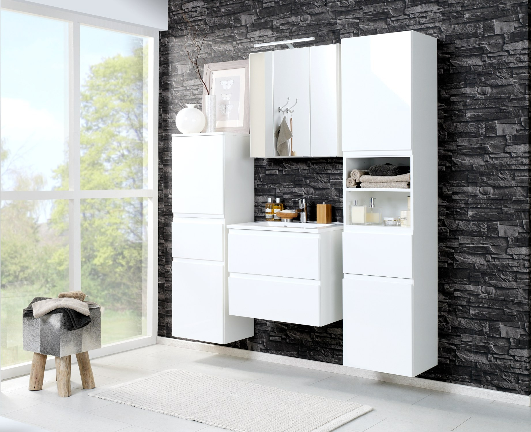 badezimmer midischrank cardiff midi highboard badezimmerschrank 40 cm weiss ebay. Black Bedroom Furniture Sets. Home Design Ideas