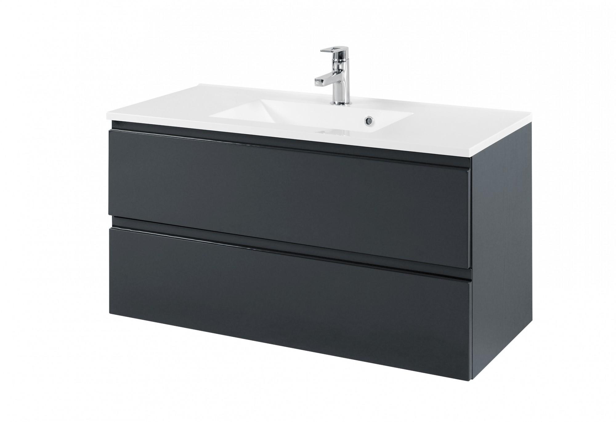 bad waschtisch cardiff 2 ausz ge 100 cm breit hochglanz grau bad waschtische. Black Bedroom Furniture Sets. Home Design Ideas