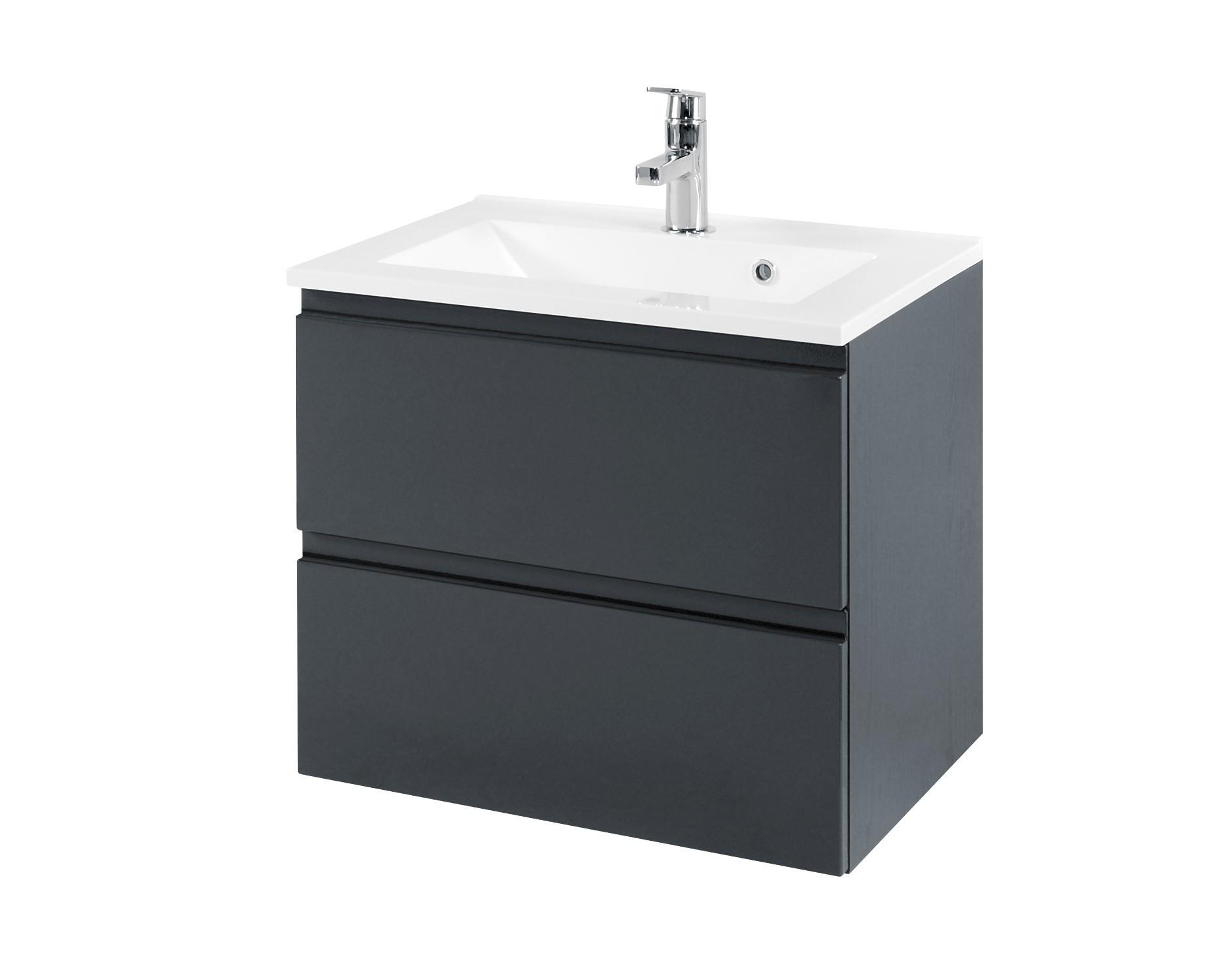 Top Bad-Waschtisch CARDIFF - 2 Auszüge - 60 cm breit - Hochglanz Grau BG61