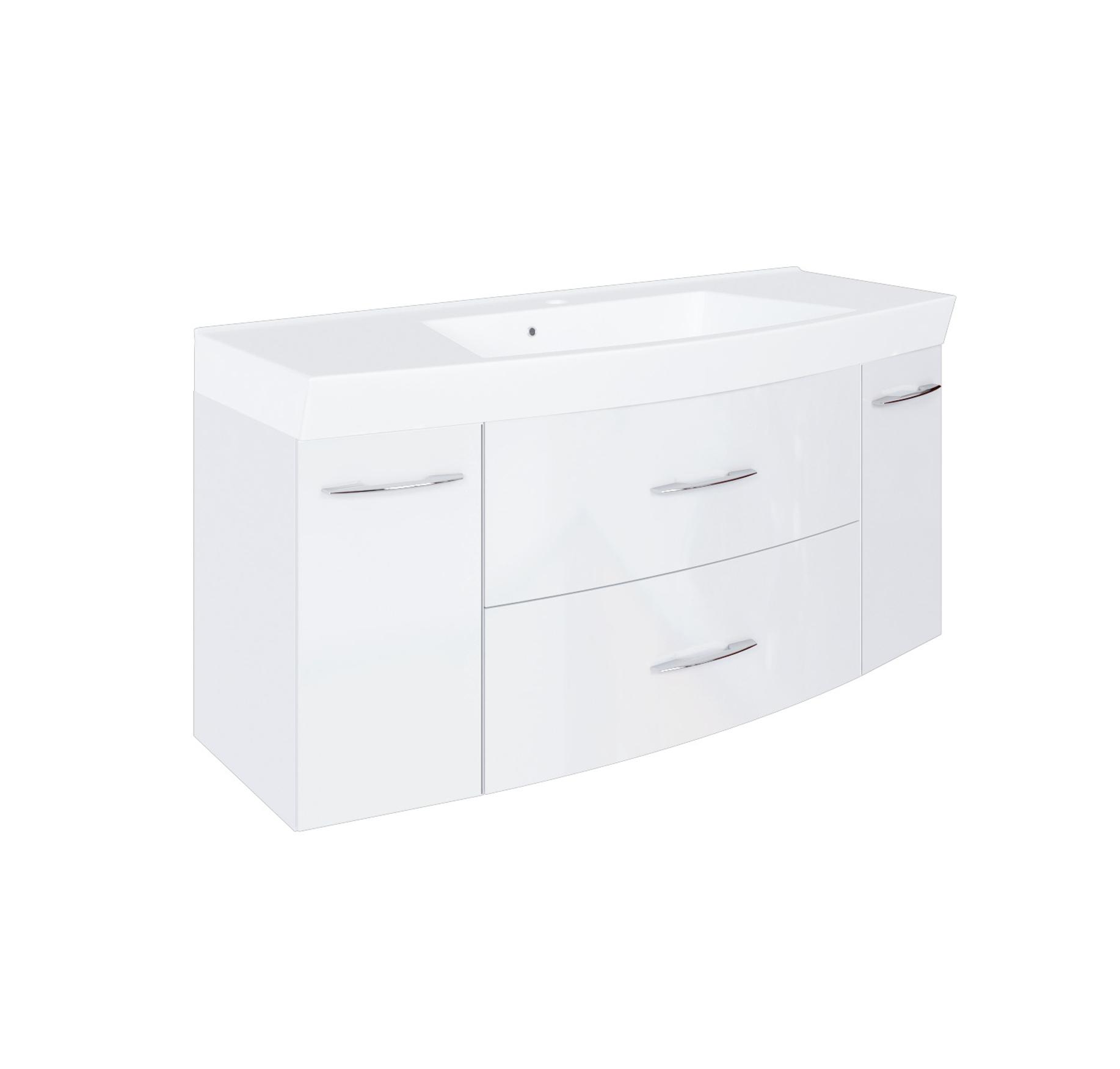 waschbeckenunterschrank mit waschbecken waschtisch 120 cm hochglanz weiss ebay. Black Bedroom Furniture Sets. Home Design Ideas