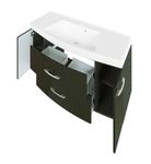 Bad-Waschtisch FLORIDA - 2 Auszüge - 120 cm breit - Hochglanz Grau / Graphitgrau