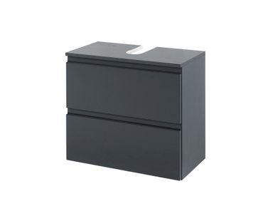 Bad-Waschbeckenunterschrank CARDIFF - 1 Auszug, 1 Klappe - 60 cm breit - Hochglanz Grau