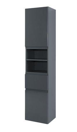 Bad-Hochschrank CARDIFF - 2-türig, 1 Schublade - 40 cm breit - Hochglanz Grau