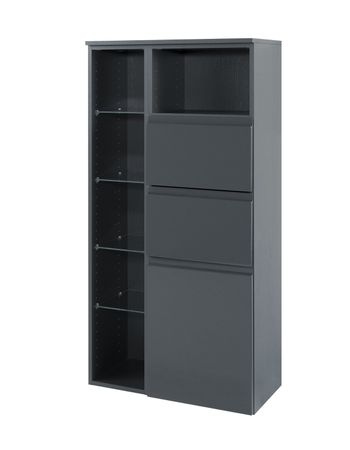 Bad-Midischrank CARDIFF - 1-türig, 2 Schubladen - 65 cm breit - Hochglanz Grau