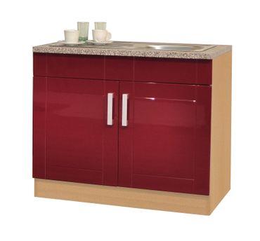 Küchen-Spülenschrank VAREL - 2-türig - 100 cm breit - Hochglanz Bordeaux Rot