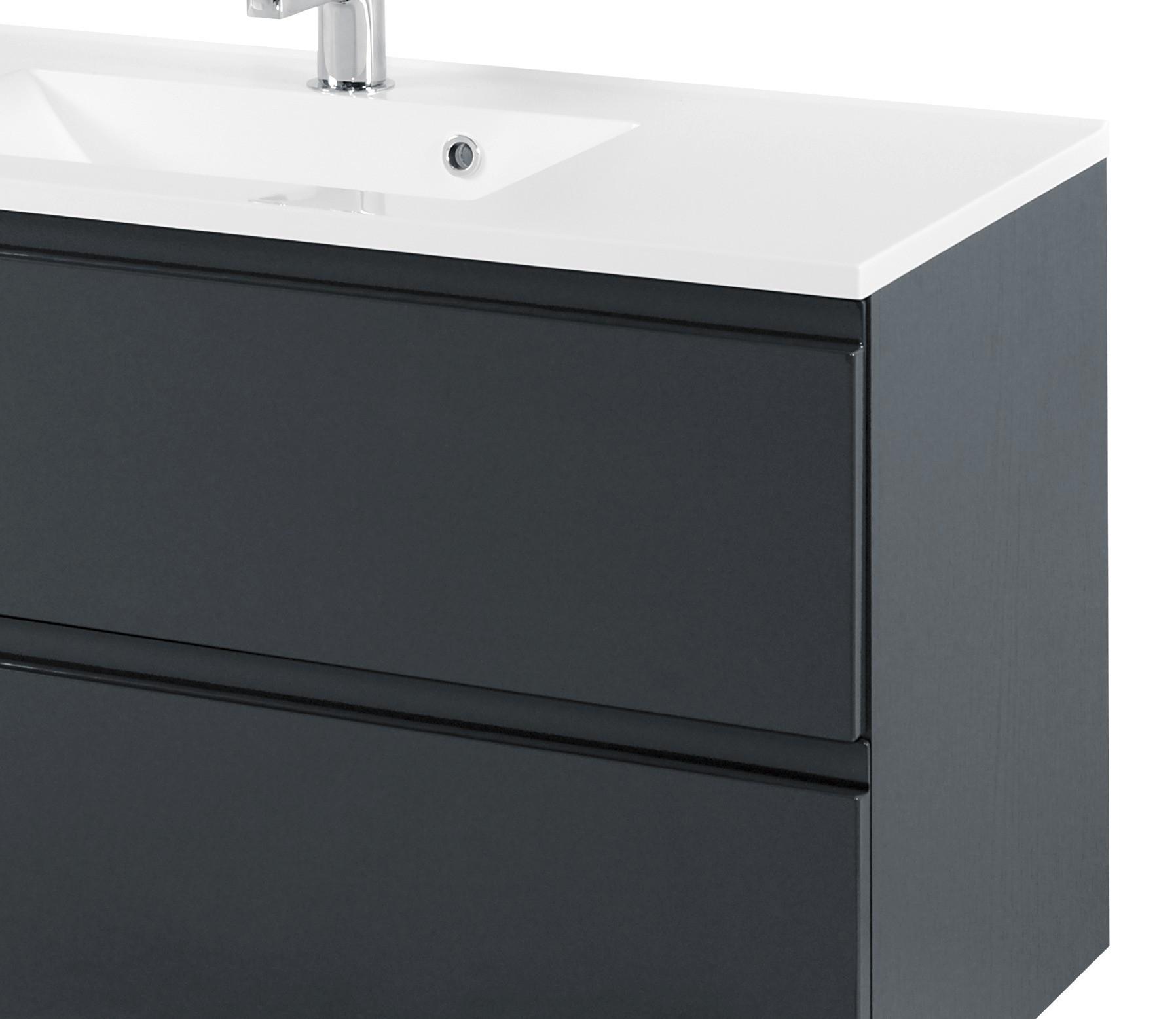 badm belset cardiff waschtisch mit becken spiegelschrank 100 cm grau ebay. Black Bedroom Furniture Sets. Home Design Ideas