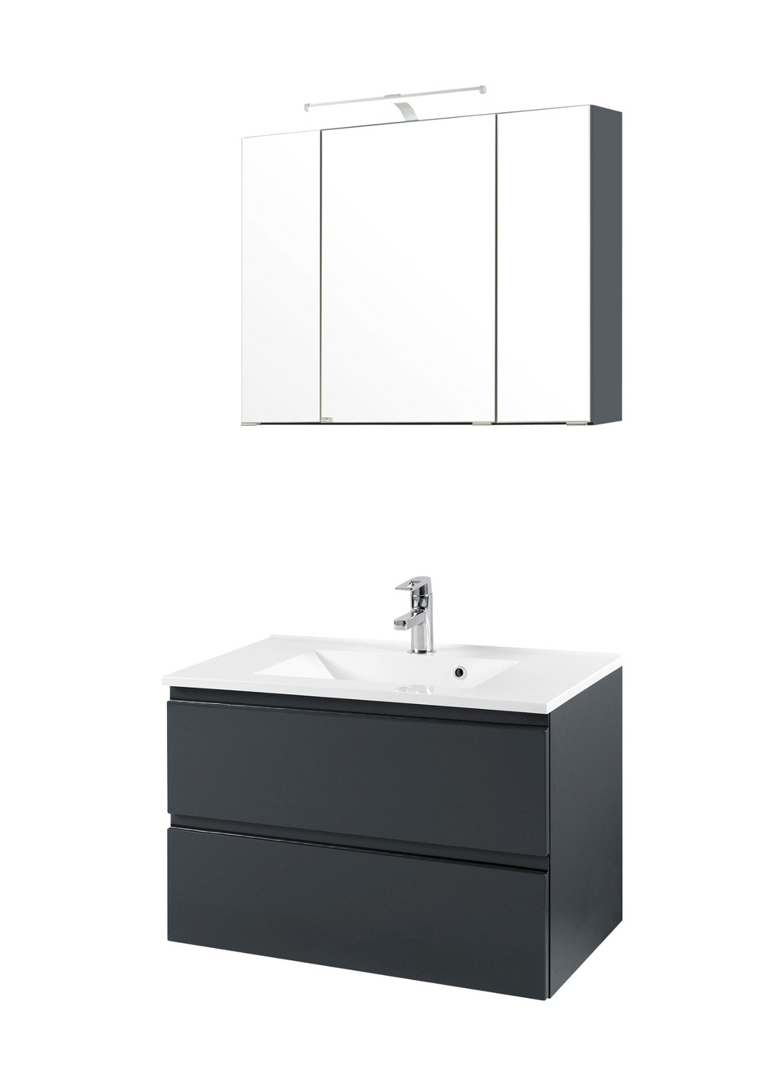 badm belset cardiff waschtisch mit becken spiegelschrank 80 cm grau ebay. Black Bedroom Furniture Sets. Home Design Ideas